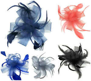 Feather Comb Fascinator Ladies Day Wedding Races Royal Ascot Hair Piece