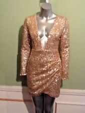 Long Sleeve Gold Sequin Sleeveless Open Front Mini Party Dress Size 12 New Years