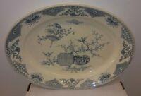 "Antique Thomas Furnival & Son Formosa 19"" Blue Platter 1879 Eastlake Aesthetic"