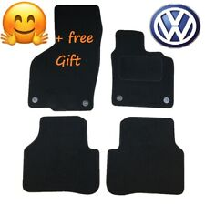Tailored Black Car Floor Mats Carpets Round Clip for VW Passat B6 B7 2005 - 2015