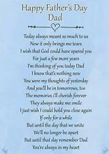 Happy Father's Day Dad Memorial Funeral Graveside Poem Card & Ground Stake F73