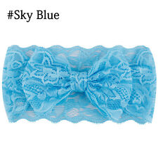 Kids Girl Baby Headband Toddler Lace Bow Flower Hair Band Accessories Blue
