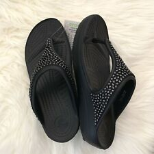 Crocs Sloane Womens  Black Silver Embellished Slide Wedge Thong Sandals Sz 6