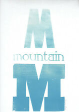 M is for Montain, original artwork, signed, blue, ltd edition