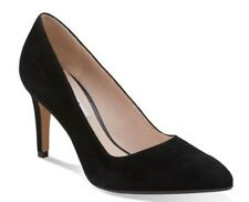 New👠Clarks 👠Size 4.5 Dalhart Sorbet Women's Pointy Toe Pumps Black Suede 37.5