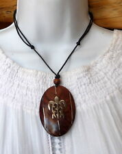 Anhänger Halskette Holz Silber Maori Schildkröte Tribal verstellbar