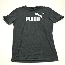 PUMA Shirt Size Medium M Gray White Graphic Tee Short Sleeve Casual Men's Adult