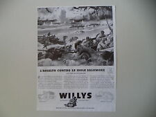 advertising Pubblicità 1944 JEEP WILLYS OVERLAND II GUERRA MONDIALE WORLD WAR