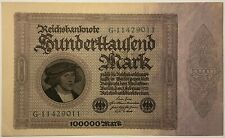1923 ~ GERMANY ~ REICHSBANKNOTE ~ 100 000 marks ~ AU condition ~ green serial #