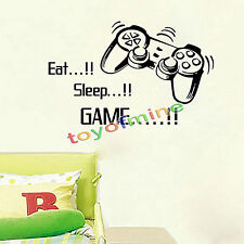 Eat Sleep Game Wall Art Wall Stickers Gamer Bedroom Removable Black Decal