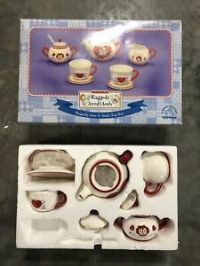 Raggedy Ann & Andy Ceramic Tea Set Applause Russ Berrie (1 Cup & Spoon Missing)