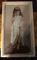 "Young Girl Print Knapp Co Lithograph Titled GOOD MORNING 16.5 X 28.5"" OLD Frame!"