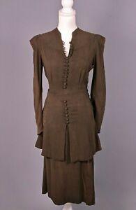 VTG Women's 30s Olive Green College Princess Peplum Rayon Dress Sz S 1930s