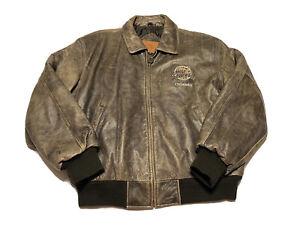 Vintage 90s Planet Hollywood Orlando Florida Brown Leather Jacket Coat Mens L
