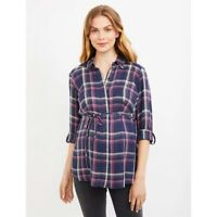 Pea In The Pod NWT small Flannel Top Blouse Purple Plaid Button Front
