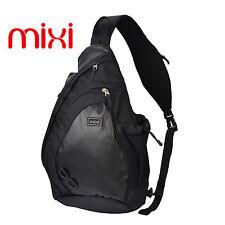 "Mixi 17"" Sling Chest Bag Shoulder Backpack Crossbody Bag Daypack - Tuxedo Black"