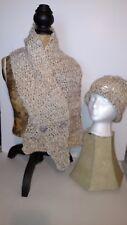 "Handmade scarf & Hat  46"" gold tone cream unisex"