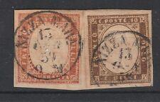 FRANCOBOLLI 1857 SARDEGNA 10+40 C. TERRA D'OMBRA GIALLOGNOLO NIZZA M.  Z/304