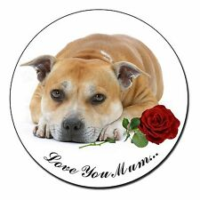Red Staff Bull+Rose 'Love You Mum' Fridge Magnet Stocking Filler , AD-SBT3RlymFM