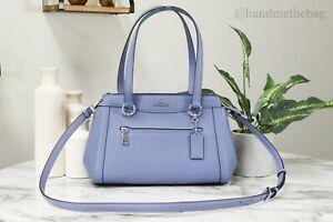 Coach C2852 Kailey Periwinkle Crossgrain Leather Carryall Bag Crossbody Handbag