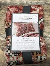 New Threshold Medallion Print Velvet Tufted Pillow Sham Standard Red Boho Style