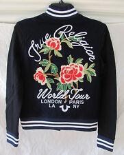 True Religion Souvenir Varsity Jacket-Embroidery World-Navy/Blk-Size XS-NWT $329