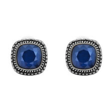 Bohm - Earrings Square - Swarovski Crystal - Clips - Royal Blue