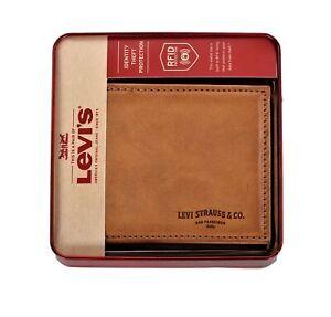 Levi's Men's RFID-Blocking Extra Capacity Traveler Bifold Wallet Tan