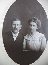 Antique B&W Photo Stern Attractive Couple Cross Necklace Nurses Watch Bowtie