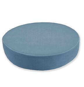 Mf60r Light Ash  Blue Microfiber Velvet 3D Round Seat Cushion Cover Custom Size
