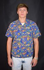 Vintage Men's TOUCAN DANCE by Fast Lane Fish Print Hawaiian Shirt Size Small