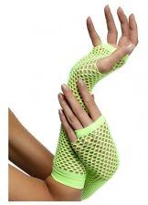 Fishnet fingerless long gloves 80s 1980s costume dance punk neon green 34880