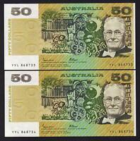 AUSTRALIA R-509b. (1985) 50 Dollars - Johnston/Fraser. OCRB.  UNC - CONSEC Pair