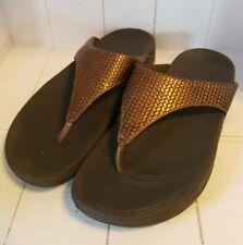 FITFLOP Lulu Weave Brown Size 7 Women Thong Flip Flop Sandals Bronze Comfort