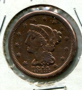 Easte Sale RARE 1844/81 over 81 Braided hair US large 1C cent