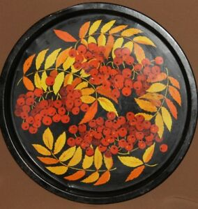 Vintage Russian floral metal serving tray