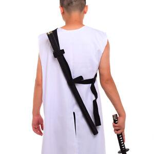Men Black  Hanging LARP Medieval Renaissance Costume Baldric Sword Belt Bag