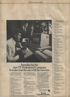"ITHistory ADS (1983) TI PC ""MAKES YOU ONE WITH THE ANSWERS (+VICTOR/COMPUTERLAND"