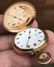 A LADIES FINE QUALITY ANTIQUE SOLID 9CT GOLD FULL HUNTER POCKET WATCH, BIRM 1909