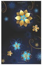 Website Password Book Internet Logbook Username Keeper Black Gold Blue Flowers
