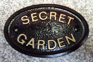 SECRET GARDEN - HOUSE DOOR PLAQUE WALL SIGN GARDEN  (Gold or Silver Lettering)