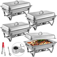 4 Pack Chafing Dish Sets Buffet Catering Stainless Steel Food Warmer Rectangular
