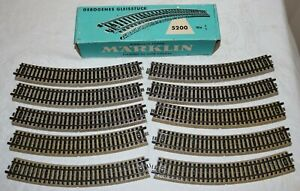 Vintage Marklin (10) Piece 5200 Curved HO Track in Box