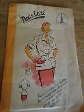 ANCIEN  PATRON * PARIS LUXE* VESTE M COURTES POCHES A REVERS  TAILLE 44  1940/50