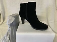 Avon | Women's Cushion Walk Heeled Booties | Black Suede | Size 11 |