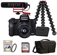 EOS M50 Mirrorless Camera Vlogger Kit+15-45mm Lens+Mic+SD+Case+Battery+Tripod+UV