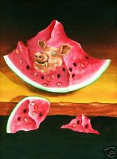 Lee CHRISTOPHERSON Fine Art Print Watermelon PIG