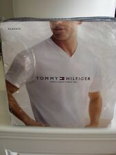 TOMMY HILFIGER 3 PACK CLASSIC V NECK T SHIRTS TEES 100% COTTON WHITE SZ S 34 36