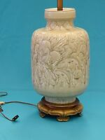 """IMPOSING LARGE 60s GREEN MANNER of CHINESE MING LONGQUAN CELADON TABLE LAMP ~38"""""""