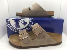 BIRKENSTOCK Women Arizona Tabacco Brown Leather Sandal Shoes Sz 7 EU38 ZB6-5